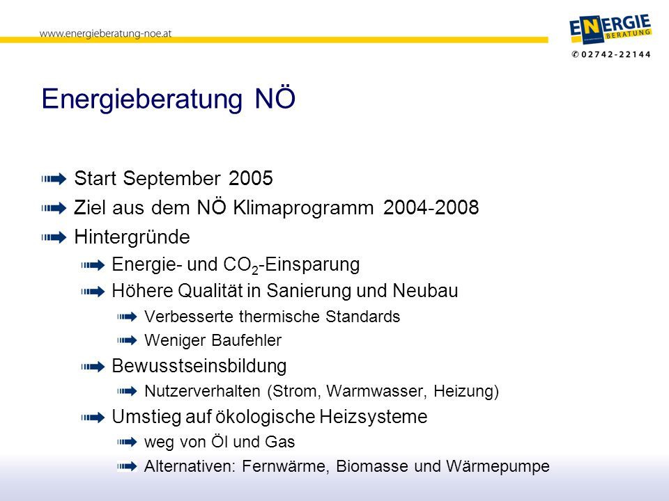 Energieberatung NÖ Start September 2005