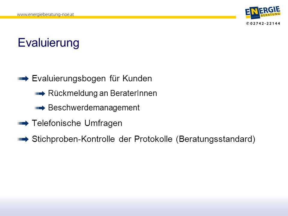 Evaluierung Evaluierungsbogen für Kunden Telefonische Umfragen