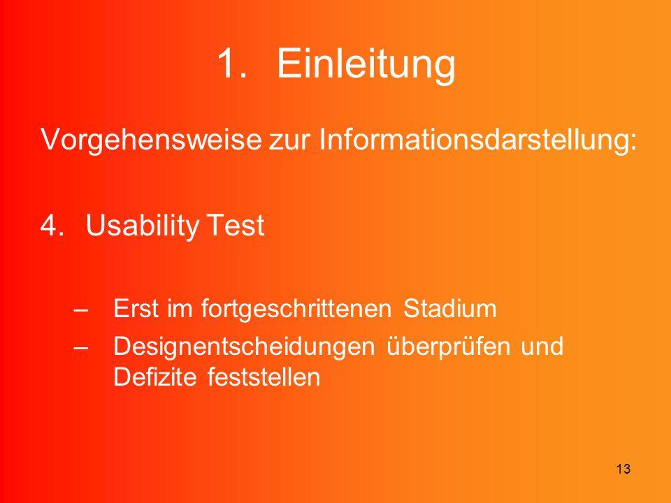 Einleitung Vorgehensweise zur Informationsdarstellung: Usability Test