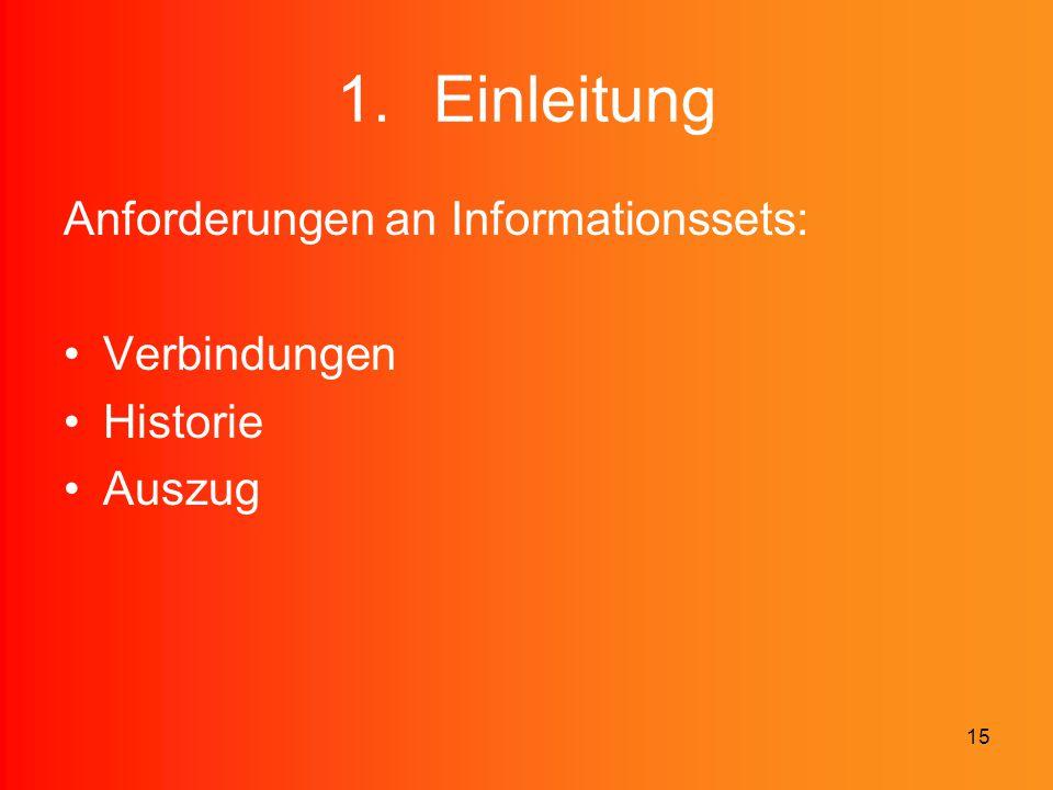 Einleitung Anforderungen an Informationssets: Verbindungen Historie
