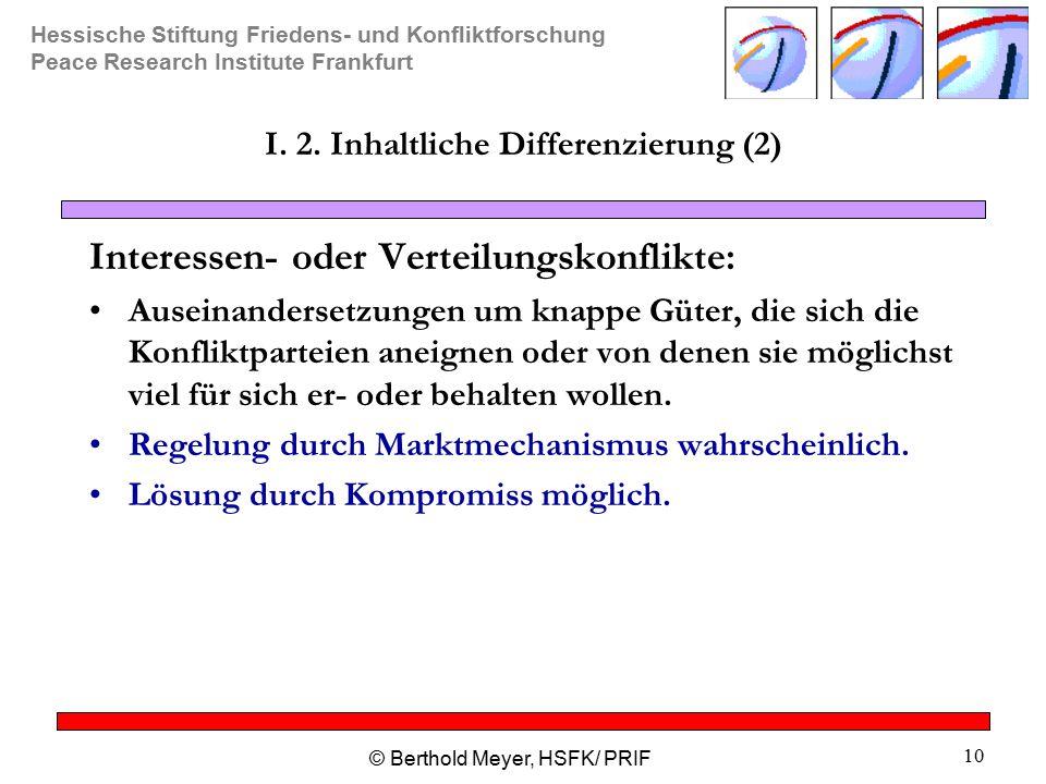 I. 2. Inhaltliche Differenzierung (2)