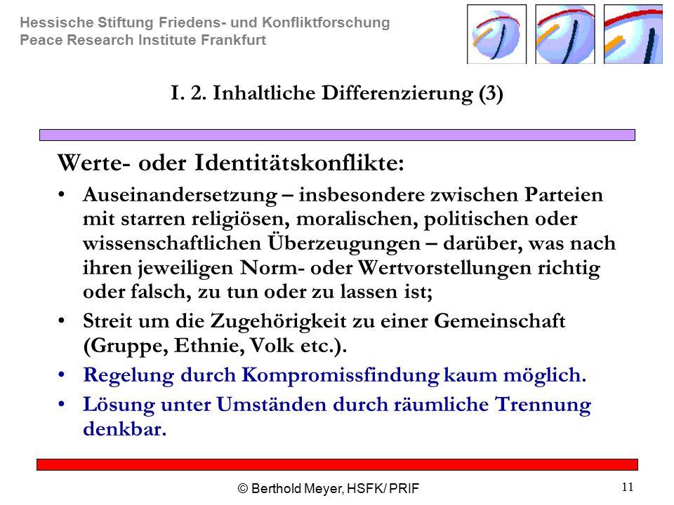 I. 2. Inhaltliche Differenzierung (3)