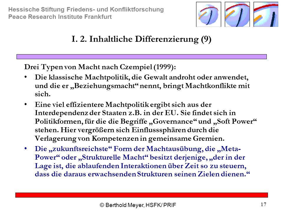 I. 2. Inhaltliche Differenzierung (9)