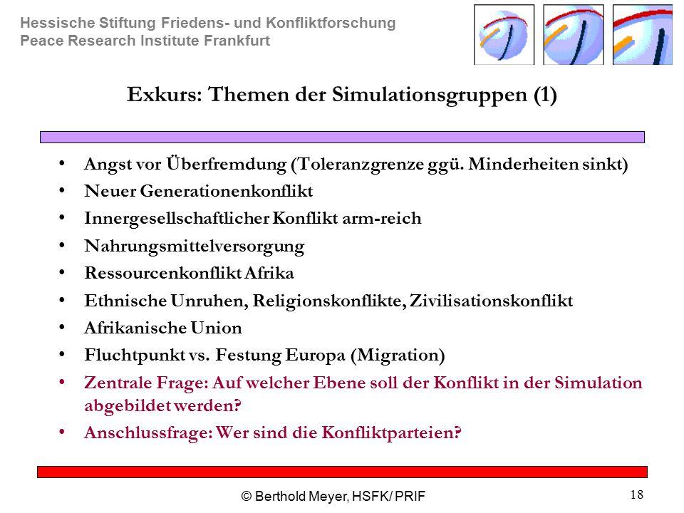 Exkurs: Themen der Simulationsgruppen (1)