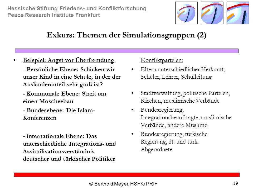 Exkurs: Themen der Simulationsgruppen (2)
