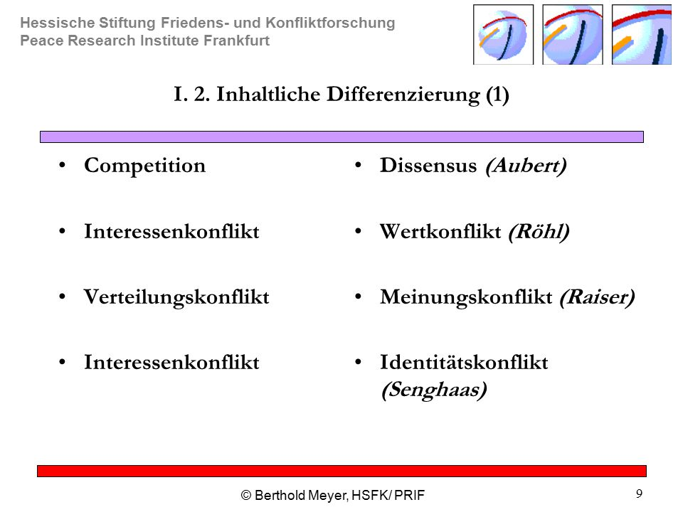 I. 2. Inhaltliche Differenzierung (1)