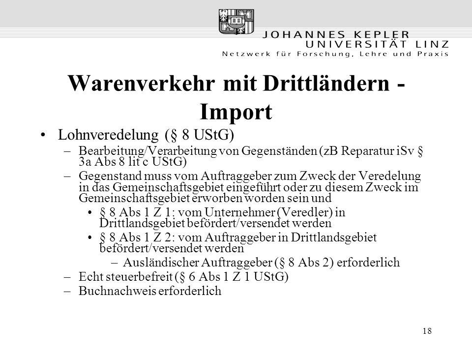 Warenverkehr mit Drittländern - Import