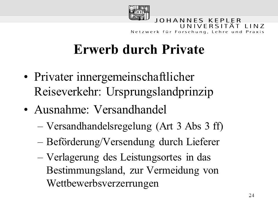 Erwerb durch Private Privater innergemeinschaftlicher Reiseverkehr: Ursprungslandprinzip. Ausnahme: Versandhandel.
