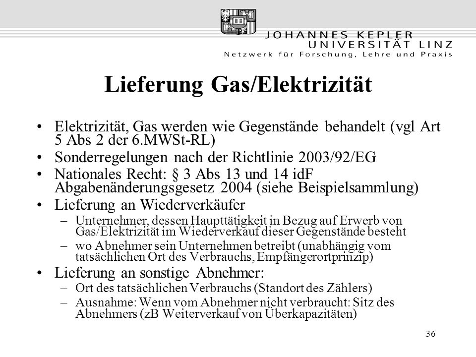 Lieferung Gas/Elektrizität