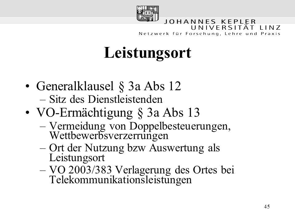 Leistungsort Generalklausel § 3a Abs 12 VO-Ermächtigung § 3a Abs 13