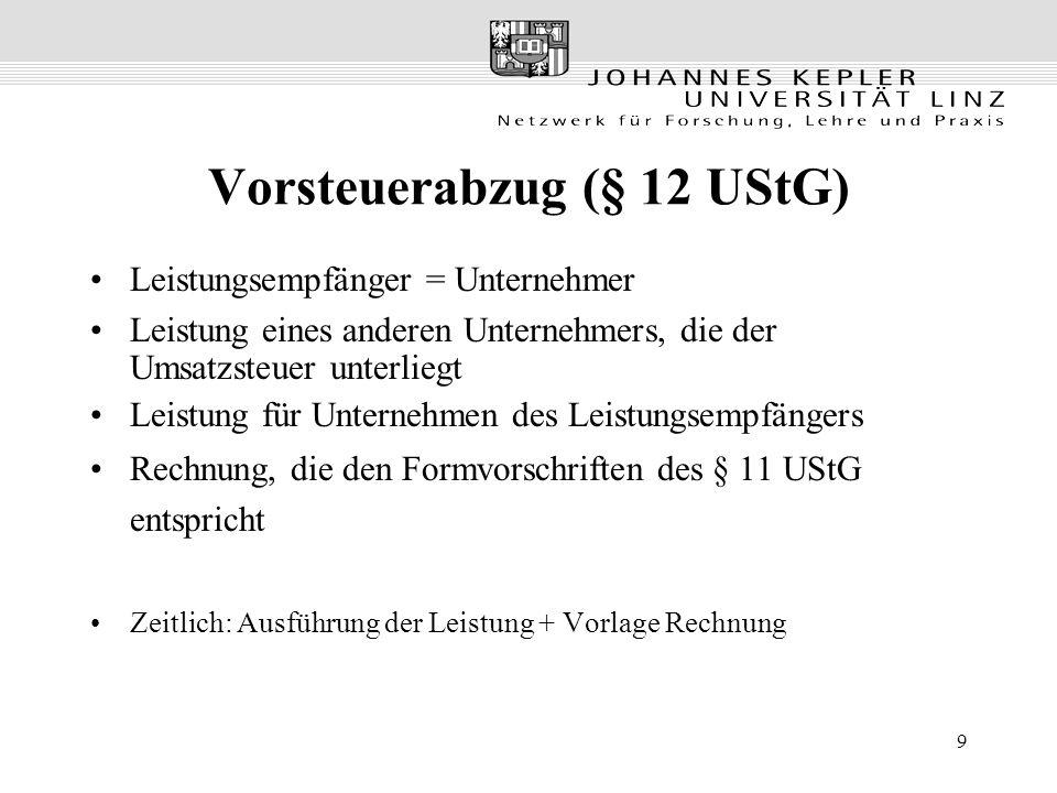 Vorsteuerabzug (§ 12 UStG)