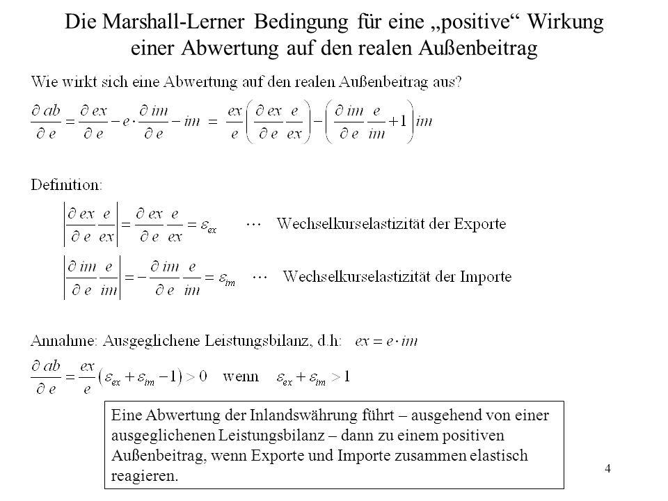 """Die Marshall-Lerner Bedingung für eine """"positive Wirkung einer Abwertung auf den realen Außenbeitrag"""