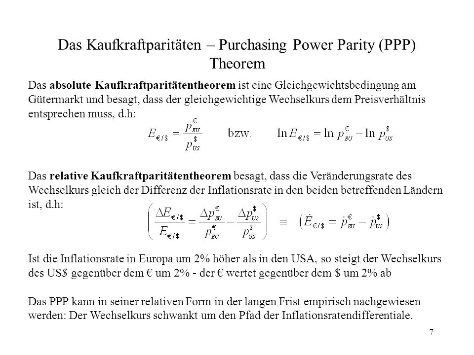 Das Kaufkraftparitäten – Purchasing Power Parity (PPP) Theorem