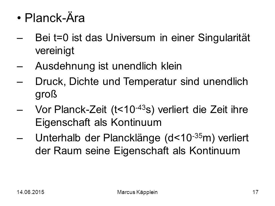 Planck-Ära Bei t=0 ist das Universum in einer Singularität vereinigt