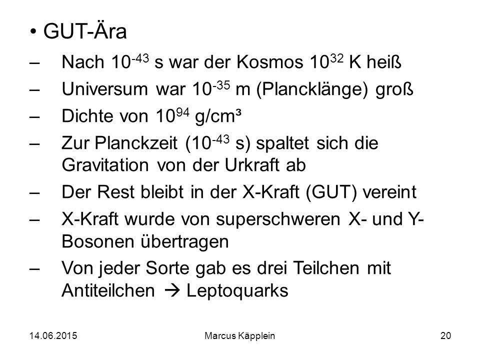 GUT-Ära Nach 10-43 s war der Kosmos 1032 K heiß