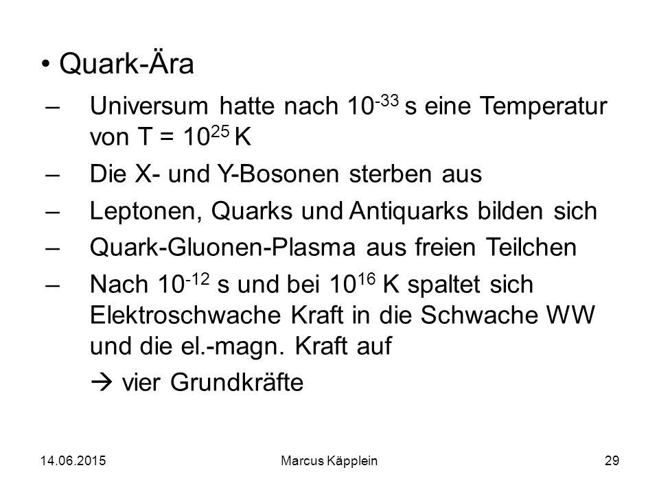 Quark-Ära Universum hatte nach 10-33 s eine Temperatur von T = 1025 K