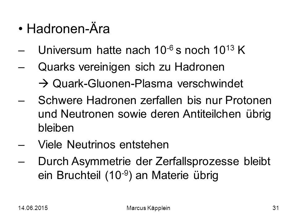Hadronen-Ära Universum hatte nach 10-6 s noch 1013 K