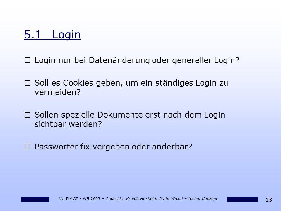5.1 Login Login nur bei Datenänderung oder genereller Login