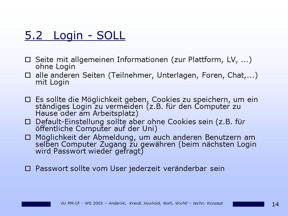 5.2 Login - SOLL Seite mit allgemeinen Informationen (zur Plattform, LV, ...) ohne Login.