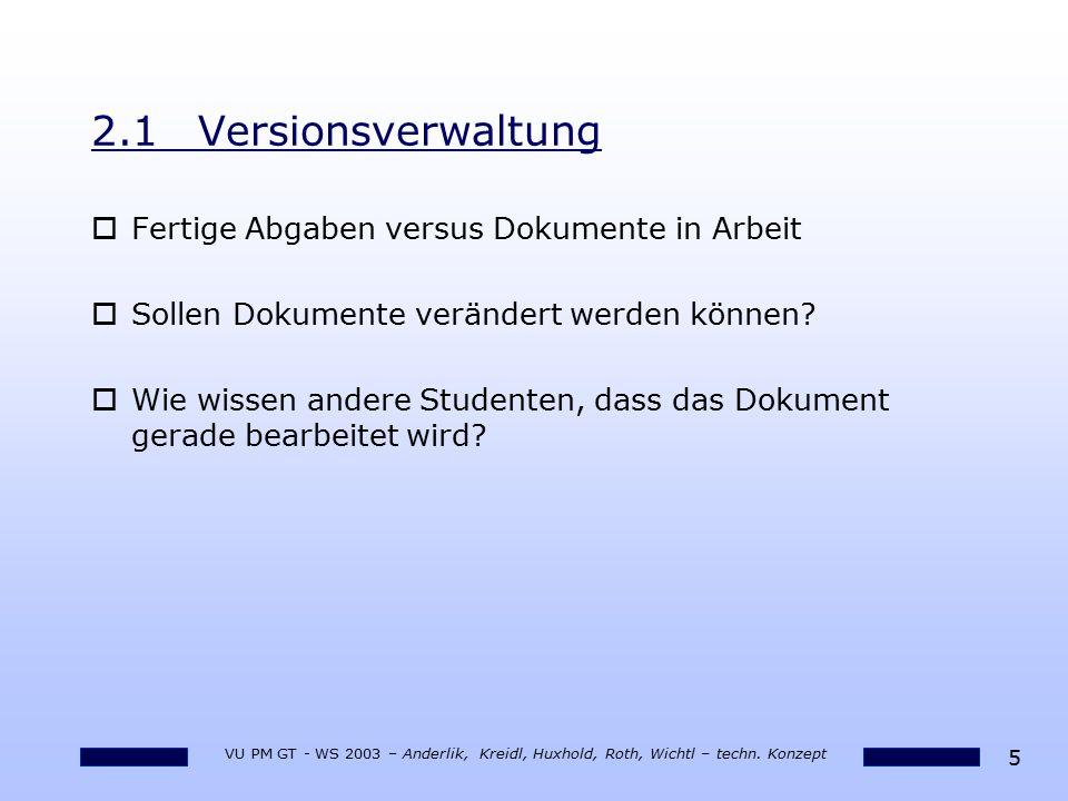 2.1 Versionsverwaltung Fertige Abgaben versus Dokumente in Arbeit
