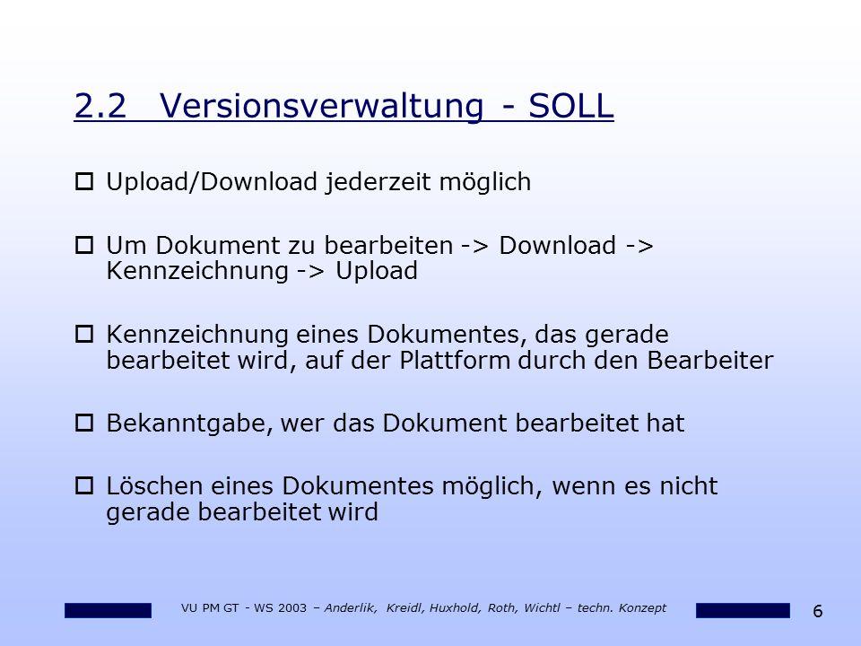 2.2 Versionsverwaltung - SOLL