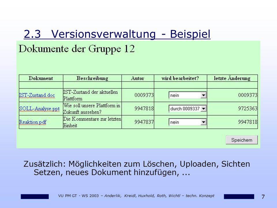 2.3 Versionsverwaltung - Beispiel
