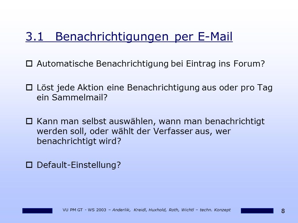 3.1 Benachrichtigungen per E-Mail