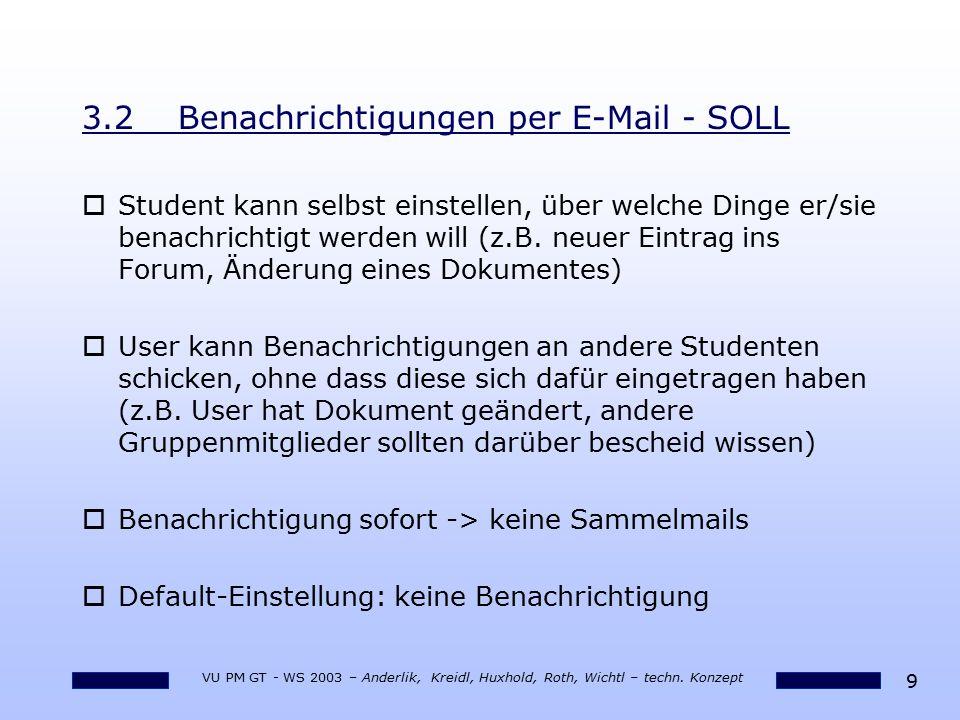 3.2 Benachrichtigungen per E-Mail - SOLL