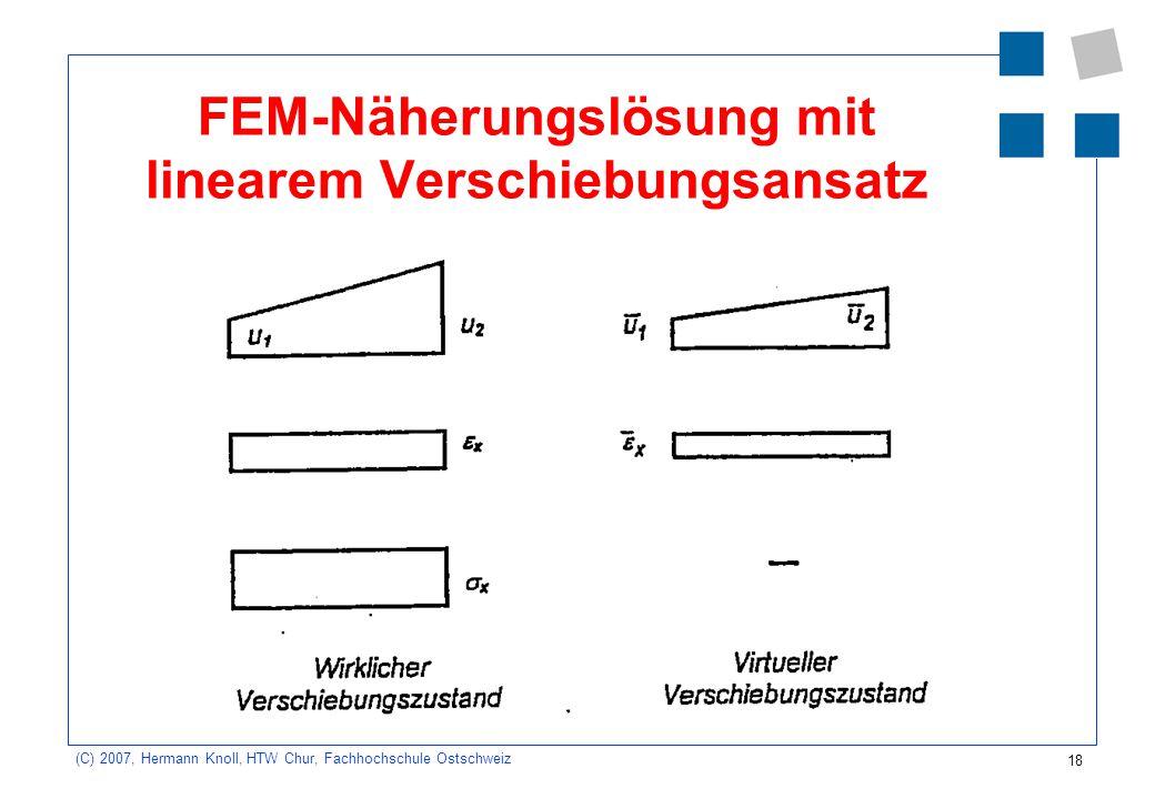 FEM-Näherungslösung mit linearem Verschiebungsansatz