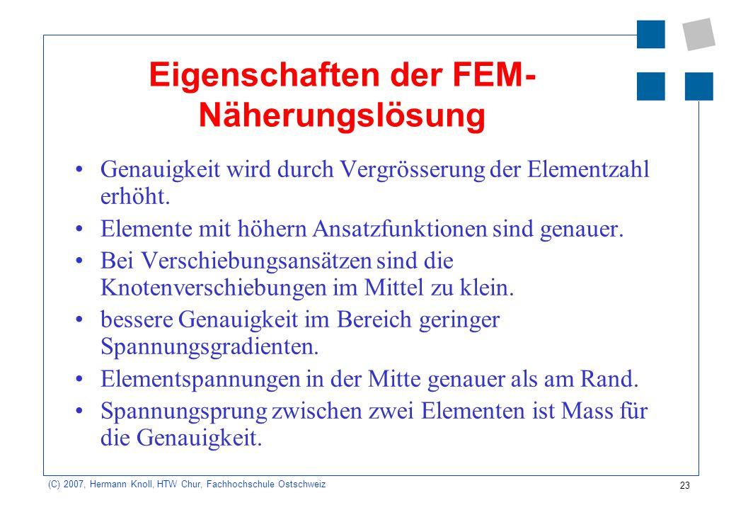 Eigenschaften der FEM-Näherungslösung