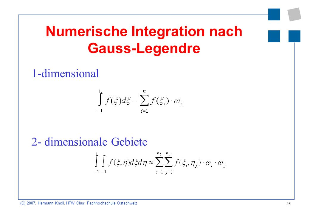 Numerische Integration nach Gauss-Legendre
