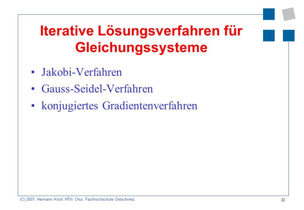 Iterative Lösungsverfahren für Gleichungssysteme