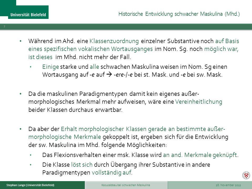 Historische Entwicklung schwacher Maskulina (Mhd.)