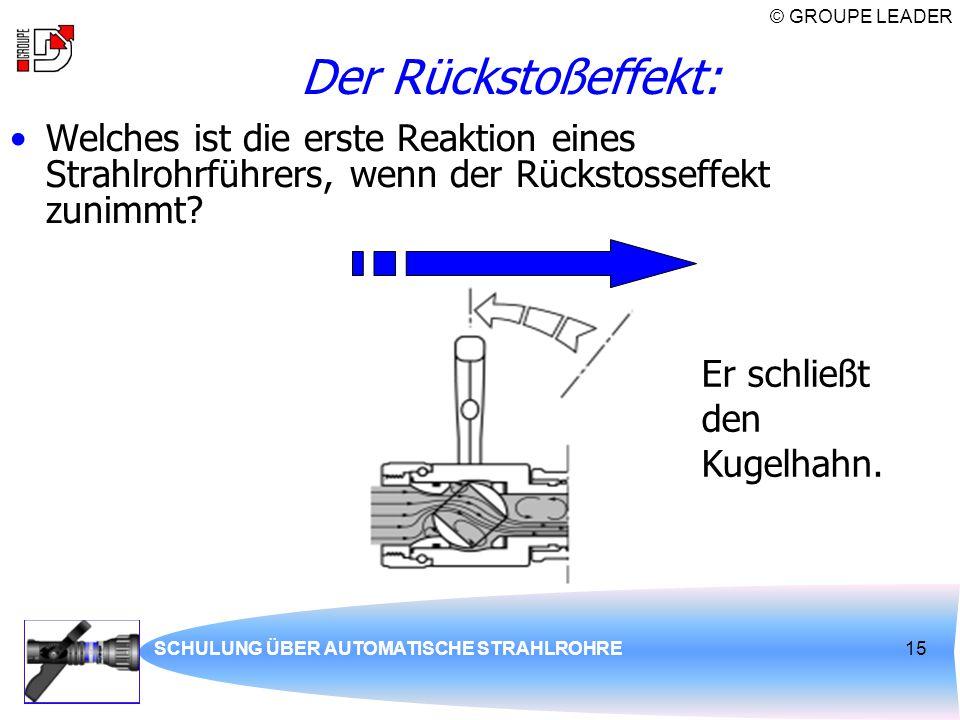 Der Rückstoßeffekt: Welches ist die erste Reaktion eines Strahlrohrführers, wenn der Rückstosseffekt zunimmt