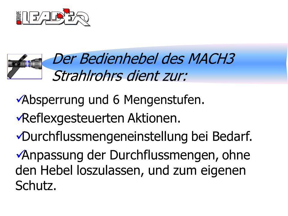 Der Bedienhebel des MACH3 Strahlrohrs dient zur: