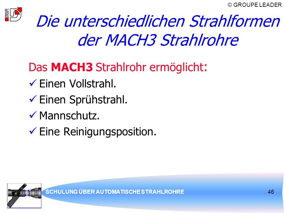 Die unterschiedlichen Strahlformen der MACH3 Strahlrohre