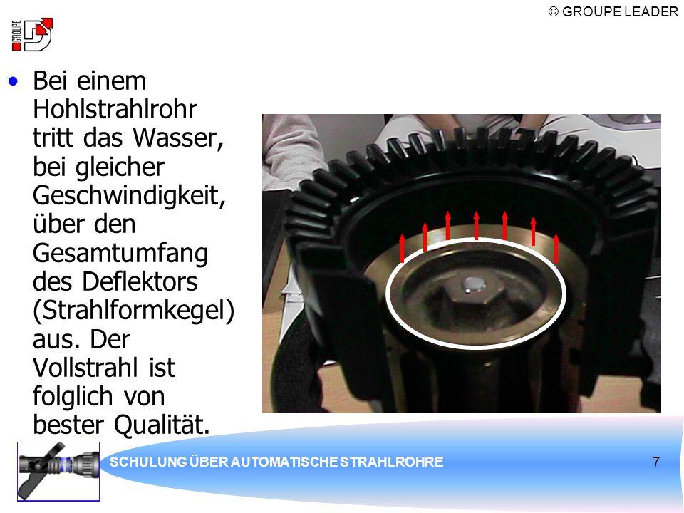 Bei einem Hohlstrahlrohr tritt das Wasser, bei gleicher Geschwindigkeit, über den Gesamtumfang des Deflektors (Strahlformkegel) aus. Der Vollstrahl ist folglich von bester Qualität.