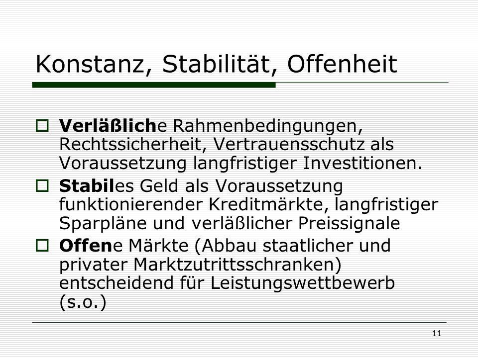 Konstanz, Stabilität, Offenheit