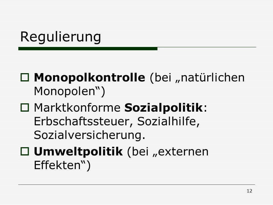 """Regulierung Monopolkontrolle (bei """"natürlichen Monopolen )"""