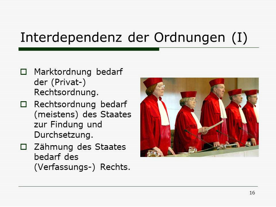 Interdependenz der Ordnungen (I)