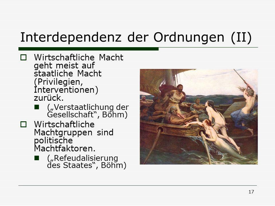 Interdependenz der Ordnungen (II)