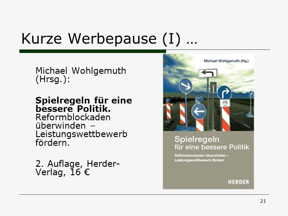 Kurze Werbepause (I) … Michael Wohlgemuth (Hrsg.):
