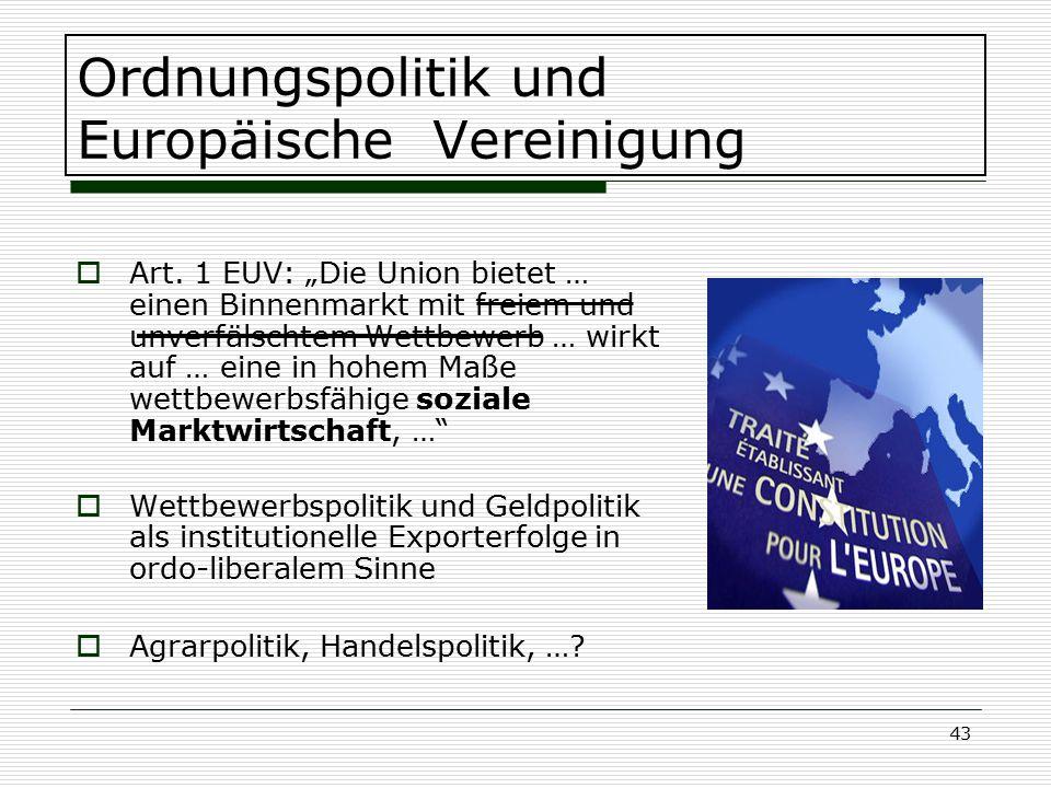 Ordnungspolitik und Europäische Vereinigung