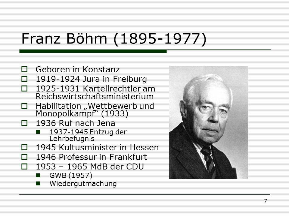Franz Böhm (1895-1977) Geboren in Konstanz 1919-1924 Jura in Freiburg