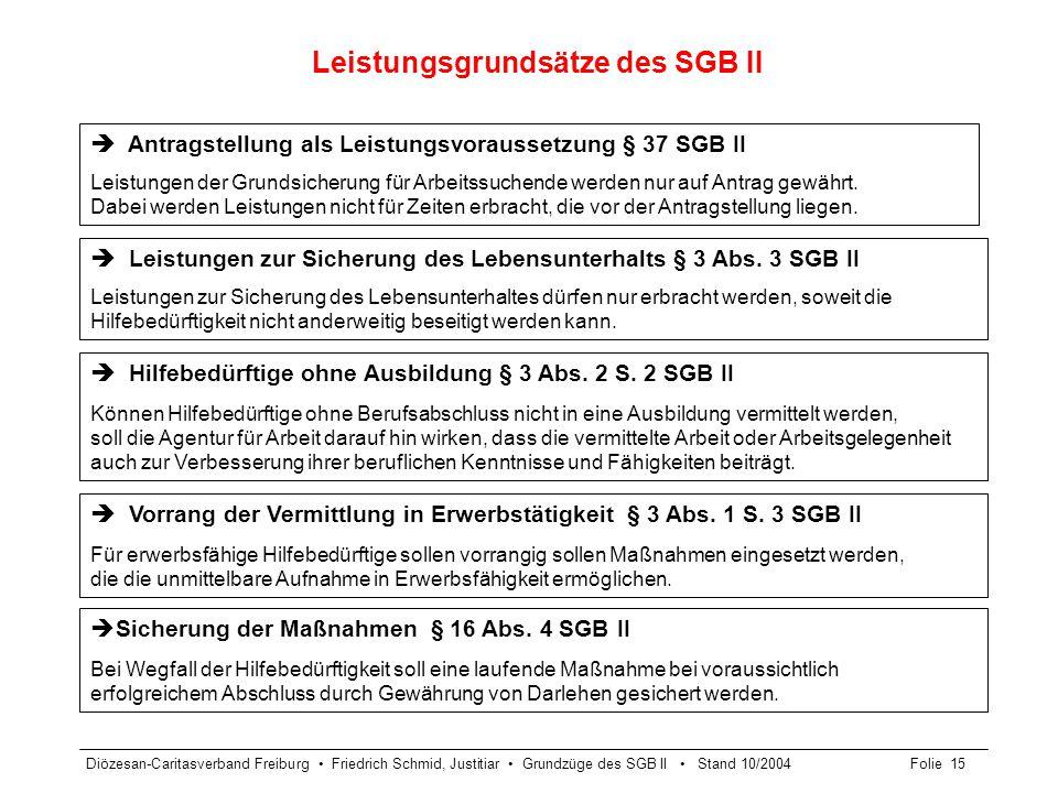 Leistungsgrundsätze des SGB II