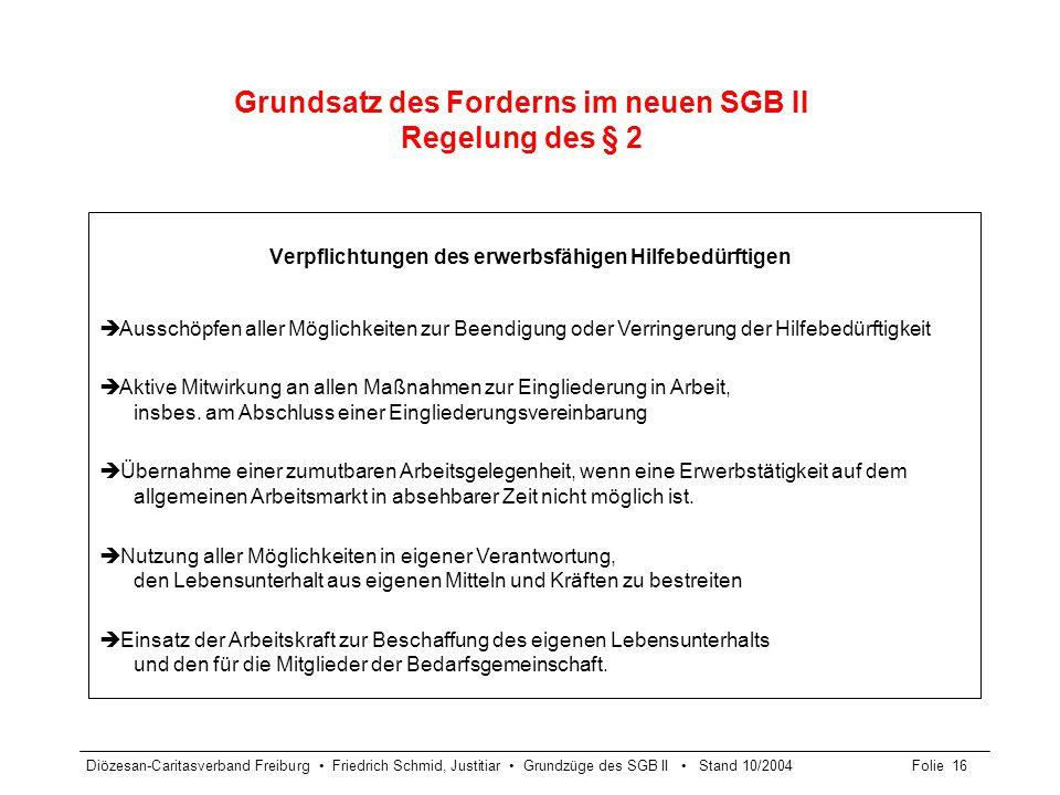 Grundsatz des Forderns im neuen SGB II Regelung des § 2