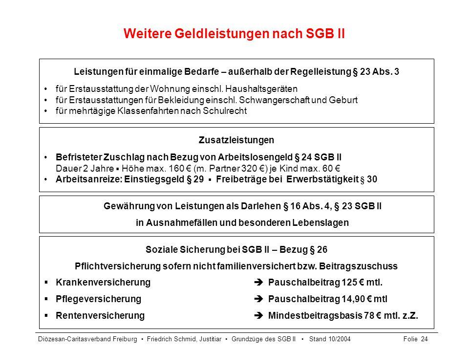 Weitere Geldleistungen nach SGB II