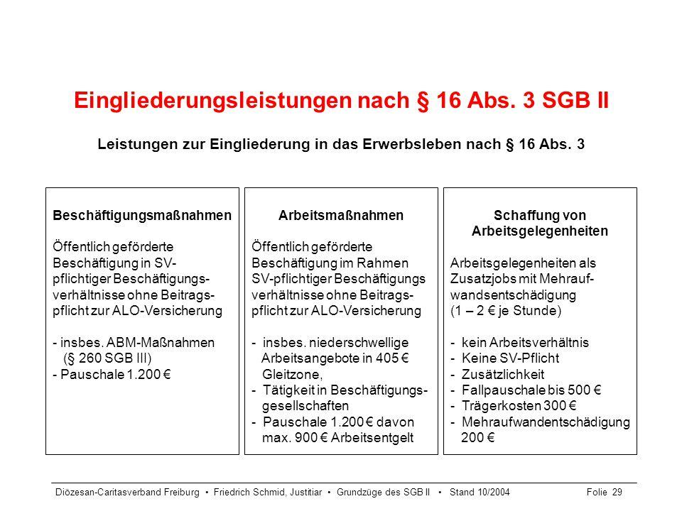 Eingliederungsleistungen nach § 16 Abs. 3 SGB II