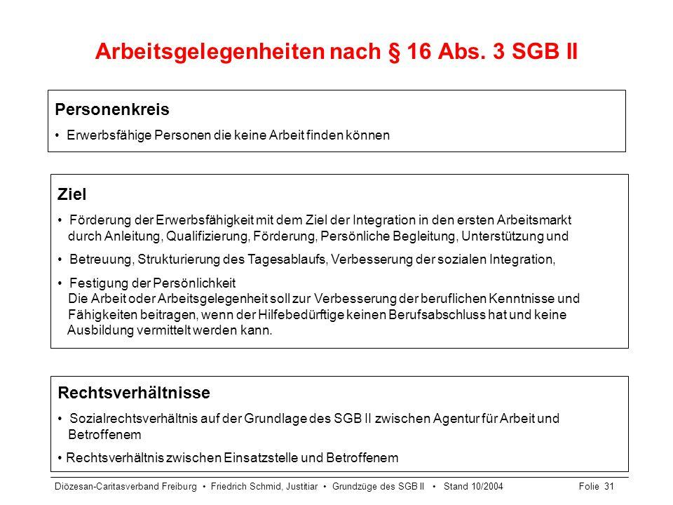 Arbeitsgelegenheiten nach § 16 Abs. 3 SGB II