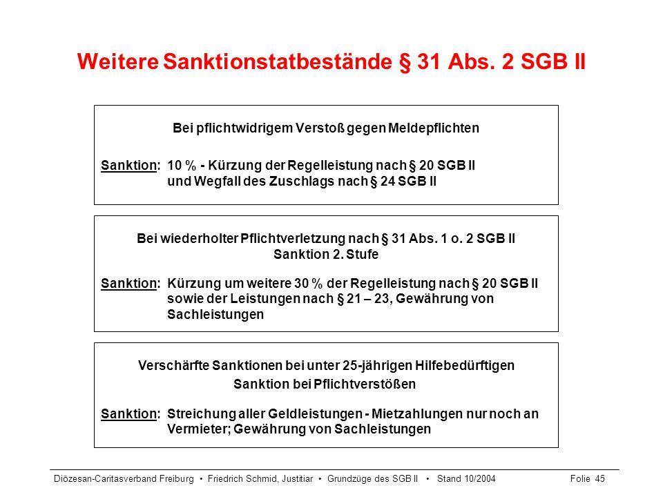 Weitere Sanktionstatbestände § 31 Abs. 2 SGB II